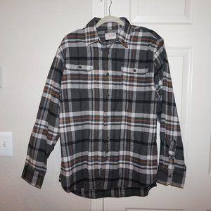 Plaid flannel shirt - Black/white/orange - Medium